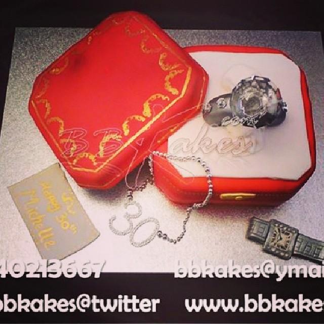 Cartier Diamond Ring Cake With Watch By Bbkakes Tbt Cake Diamond