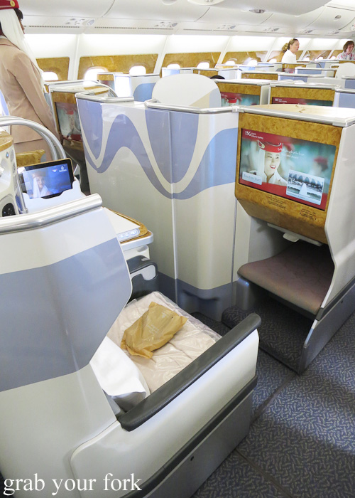 Business Class seating on Emirates in the A380
