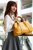 WOMEN SOPHISTICATED SHINY LOOK SHOULDER HANDBAG IN YELLOW by Jasmine Zenetti