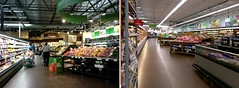 View from produce, back up toward the deli, before and after