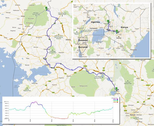 Naivasha to Suam - ride map & profile