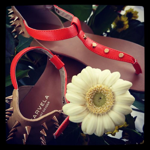 Orange studded Kloud sandal by Carvela Kurt Geiger