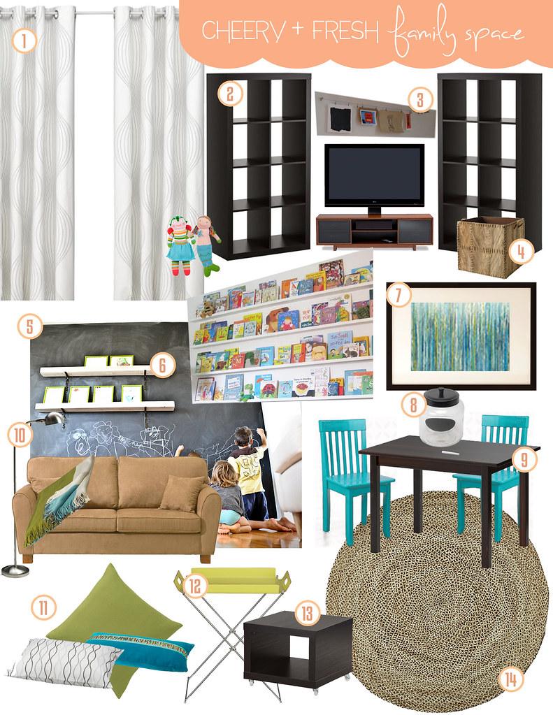 Cheery + Aqua Family Space Inspiration Board