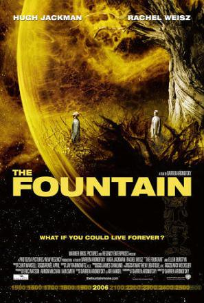 The Fountain DVD cover: figures perched on sci-fi landscape