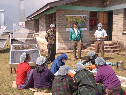 Entrepreneurs undergoing nettle powder making training.  © CARE Nepal/Dev Narayan Mandal