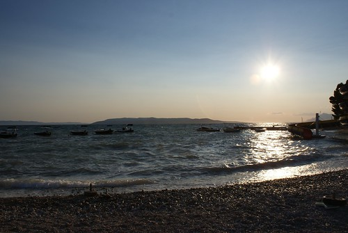 Sunset on the beach in Makarska