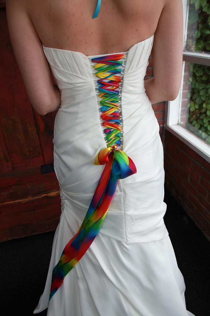 Lace up your white wedding gown with a rainbow of colors for Rainbow wedding dress say yes to the dress