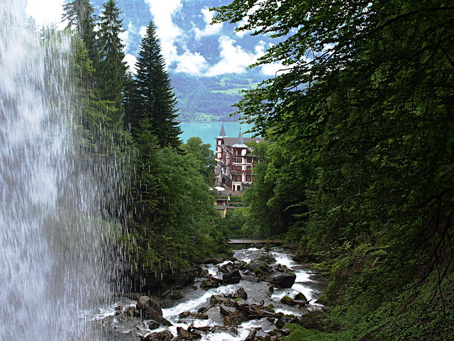 Geissbach Hotel seen through Geissbach Falls, Switzerland