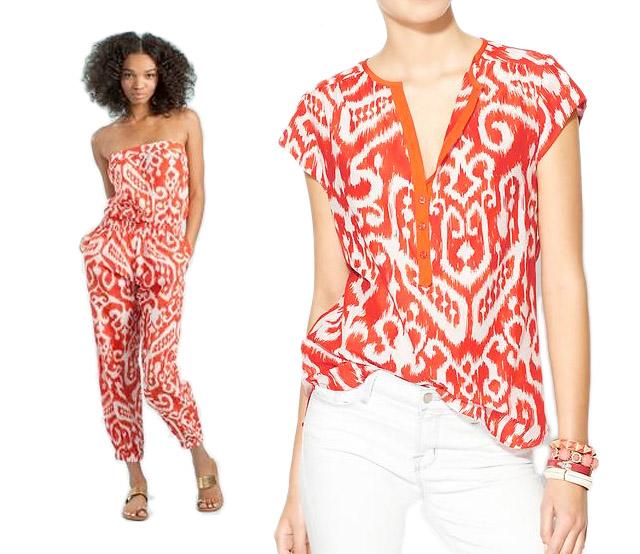 trina turk, ikat printed jumpsuit, ikat shirt