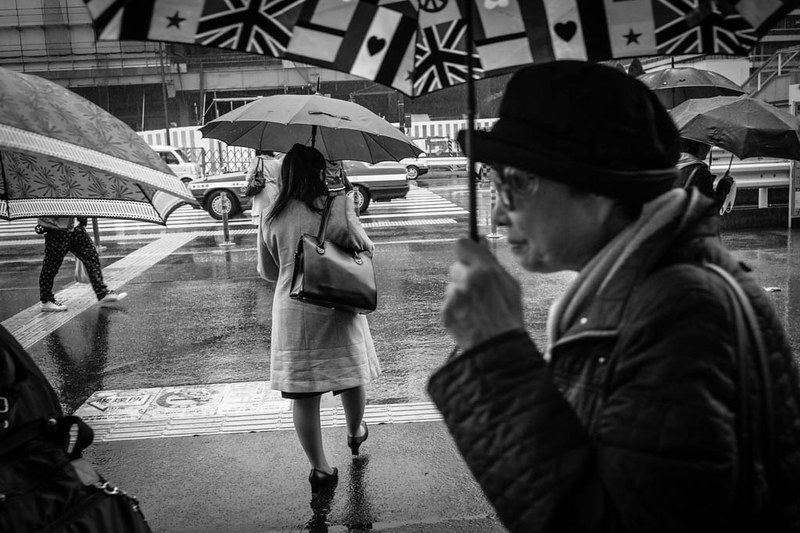 The many umbrella designs in Tokyo are captivating. Here a lady with a fancy umbrella walks in the rain in Shinjuku.
