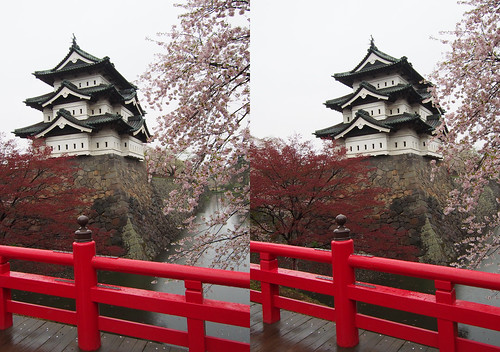 Hirosaki castle, stereo parallel view