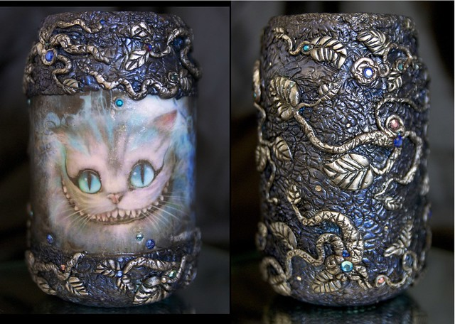 A 'Cheshire Cat' jar. First experiment with image transfer. Cheshire Cat_combined