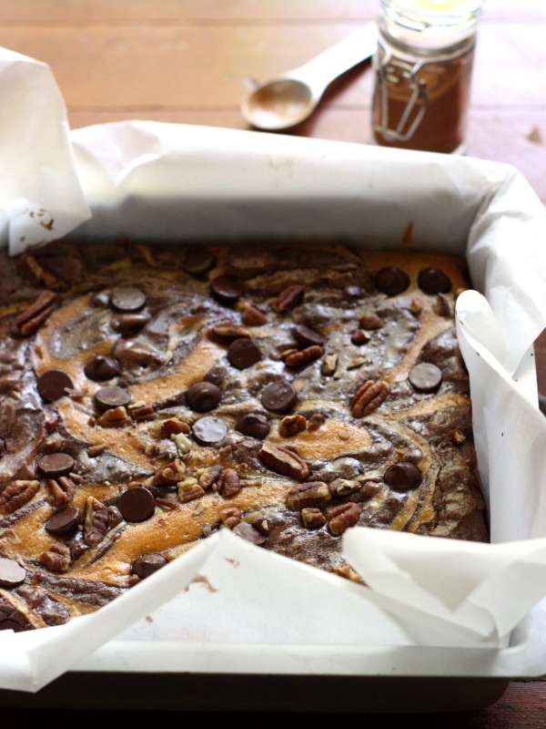Pumpkin Swirl Brownies with Pecans