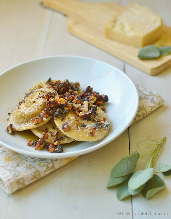 Homemade Pumpkin-Ricotta Ravioli with Brown Butter Walnut Sauce via LittleFerraroKitchen.com