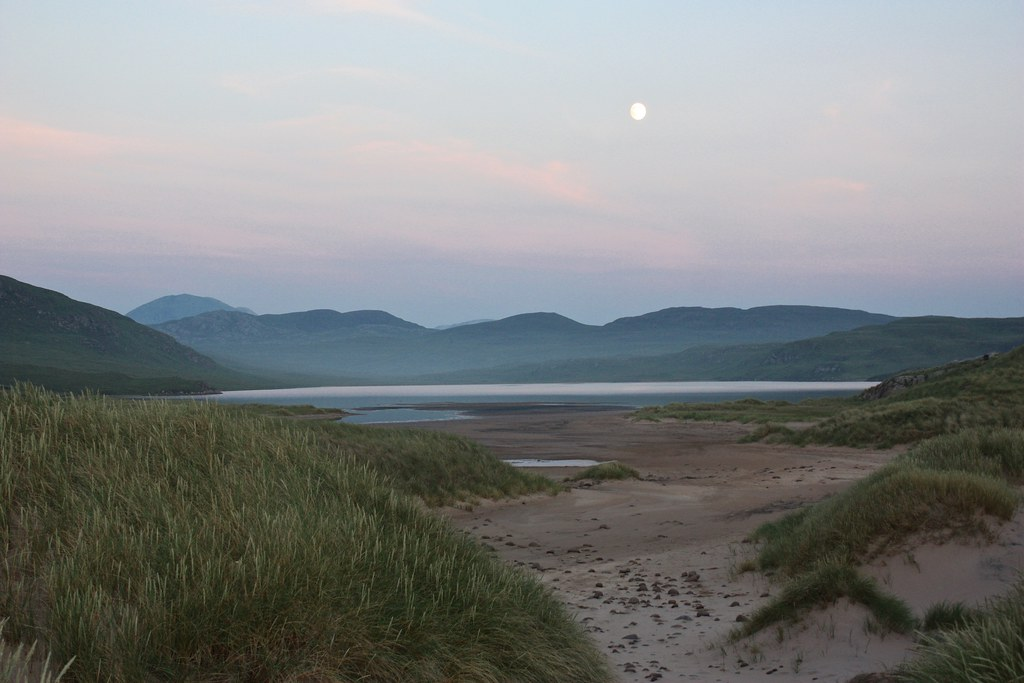 Moon over Sandwood Loch at dusk