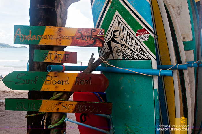 Surf Boards for Rent at Phuket's Patong Beach