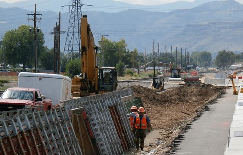 Photo of retaining wall construction on Ridge Road on Gold Line in Arvada