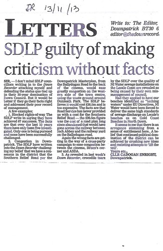 nov 13 2013 from clean beaches, to rights of way and access to our hospital SDLP EXPOSED BY Cllr Cadogan Enright