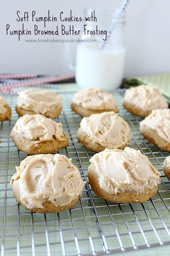 Soft Pumpkin Cookies with Pumpkin Browned Butter Frosting 3