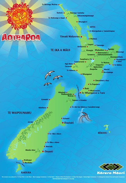 A map of New Zealand with Maori names