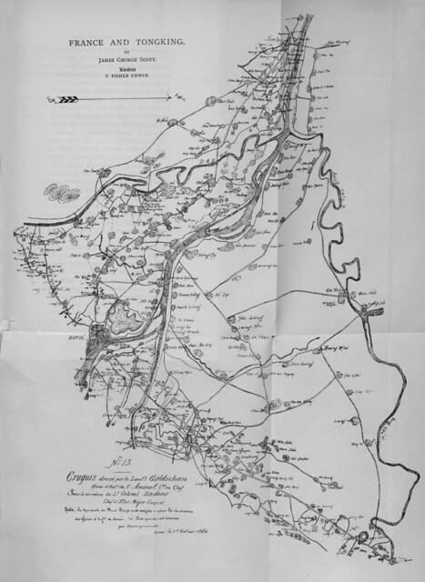 FRANCE AND TONGKING - Plan of Triangle formed by Hanoi -- Bản đồ khu vực tam giác Hà Nội - Sơn Tây - Bắc Ninh (vẽ ngày 1-2-1884)