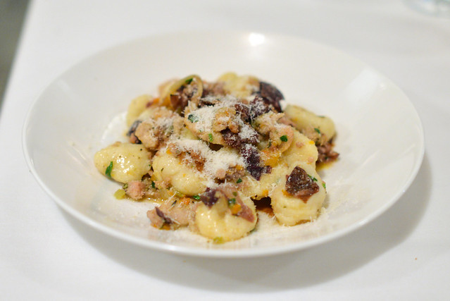 Coujette occitaine potato gnocchi, devil's gulch rabbit and chestnut ragu, roasted radicchio