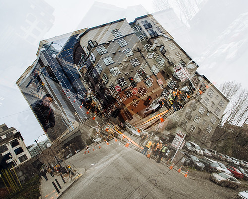 seattle city building washington downtown doubleexposure streetphotography multipleexposure pacificnorthwest intersection urbandocumentary olympusmzuikoed12mmf20 olympusomdem5 consutrctioncrew