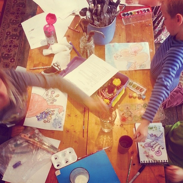 When mornings are rough you start with the favorite subject first. #art #homeschooling