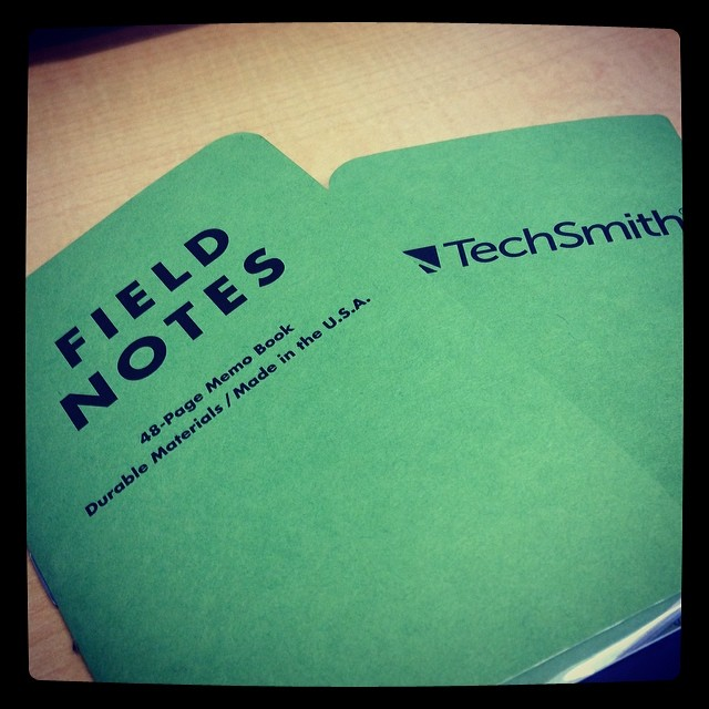 My note taking just got a bit swankier. Field Notes plus @techsmith = the perfect combination. Love our new swag.