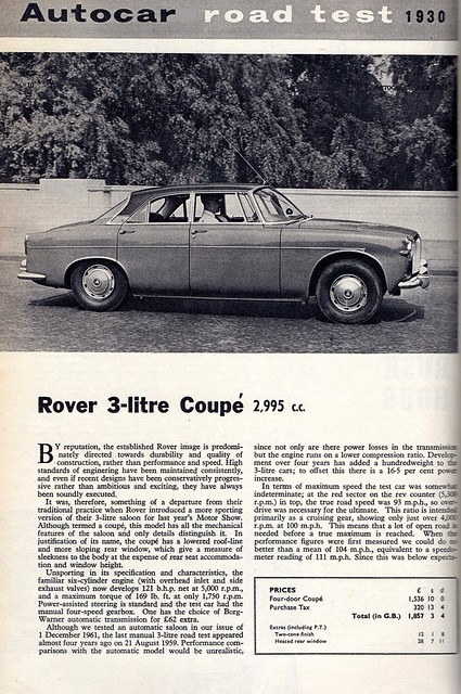 Rover 3 Litre Coupe P5 Road Test 1963 (1)