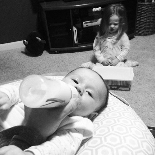 4:32 am Time to pump and feed Maggie. Molly is also up and refusing to sleep. #adayinthelifephotochallenge