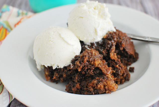 Slow Cooker Chocolate Chip Brownie Cake - chocolate chip cookie dough and brownie batter baked together in the crockpot!