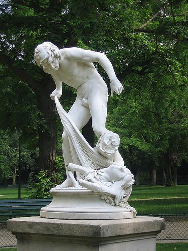 IMG 8902 _ Pêcheur ramenant la tête d'Orphée dans ses filets(1883), Louis-Eugène Longepied (1849-1883), Marbre, Jardins du Ranelag, Paris