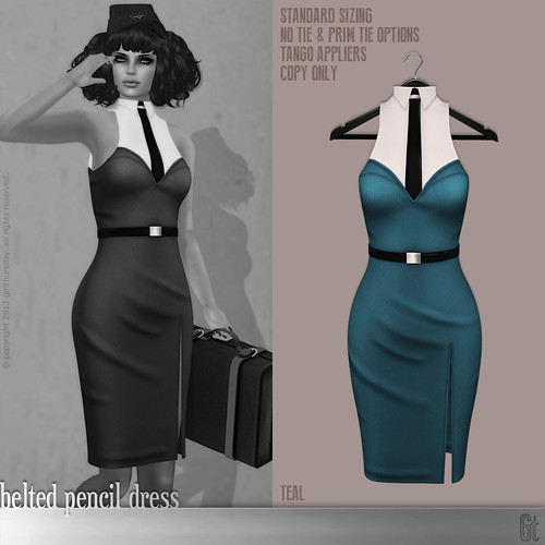 [girl thursday] belted pencil dress teal