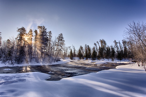winter sun mist snow water sunrise manitoba rapids whiteshell pinepointrapids