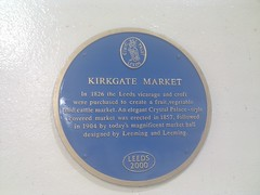 Photo of Kirkgate Market, Leeds, John Leeming, and Joseph Leeming blue plaque