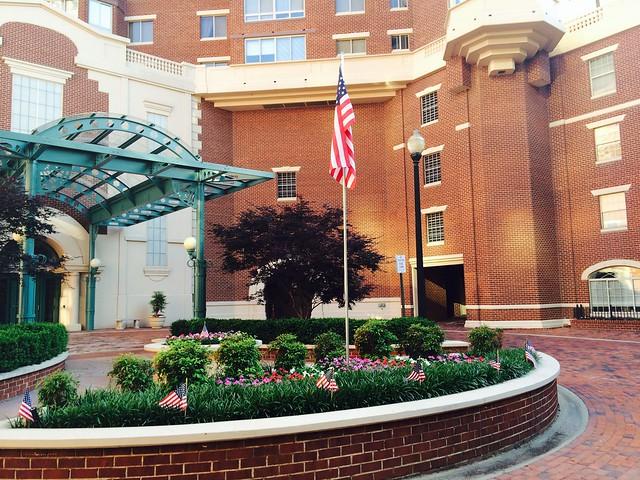 Memorial Day flags at Carlyle Towers Condominiums in Alexandria, Virginia.