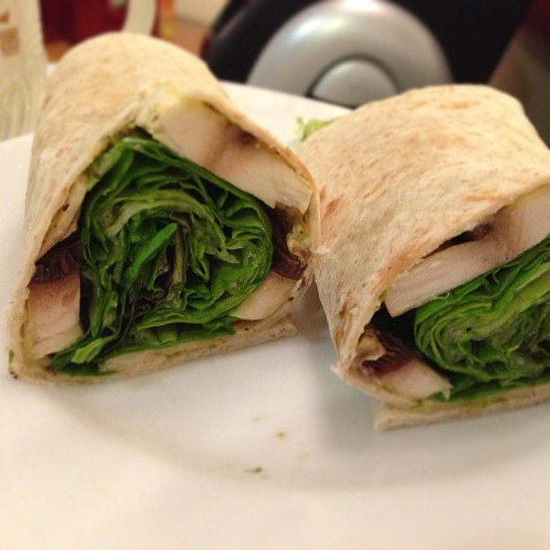 A vegan's dinner. Veggie wrap consisting of pesto, egg-free mayo, raw mushroom and leafy greens.  And a tiny slosh of caramelized balsamic vinegar. #health #healthy #fitness #vegan #diet #vegandiet #food #foodporn #foodspotting #instafood