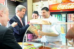 Secretary Kerry Chats With the Employees at a Shop in Ramallah
