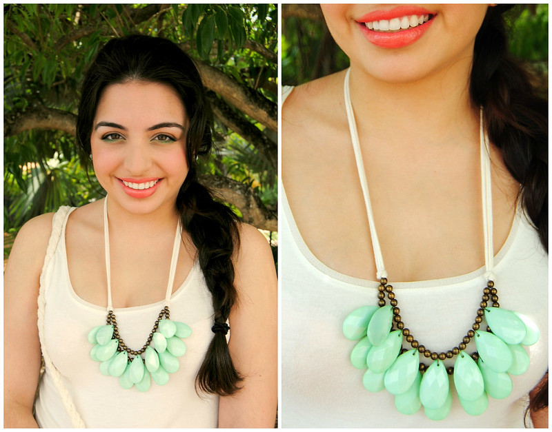 Eclectic Ornaments Seafoam Green Briolette Bib Anthropologie Necklace