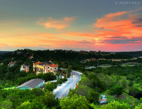 sunset sky orange green beautiful austin scenery colorful texas oasis hdr goldenhour laketravis oasisonlaketravis