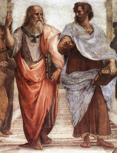 "From ""The School of Athens"" by Raffaello Sanzio, 1509, showing Plato and Aristotle"