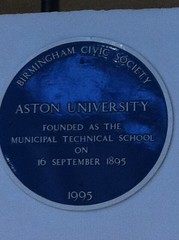 Photo of Aston University and Birmingham Municipal Technical School blue plaque
