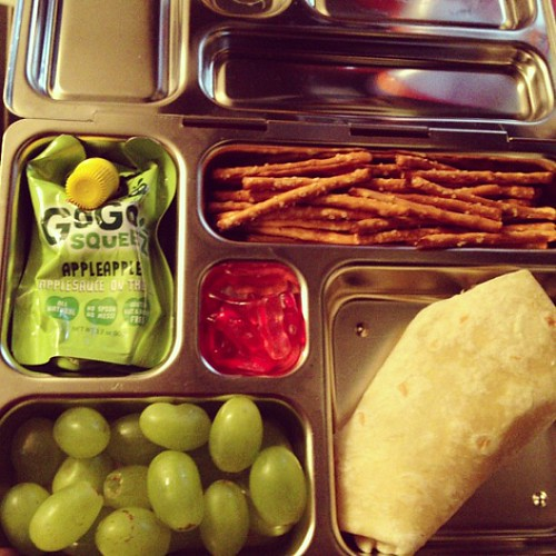 Reno's Lunch: black bean and rice burrito, grapes, applesauce, pretzels, squishy bunnies #vegan