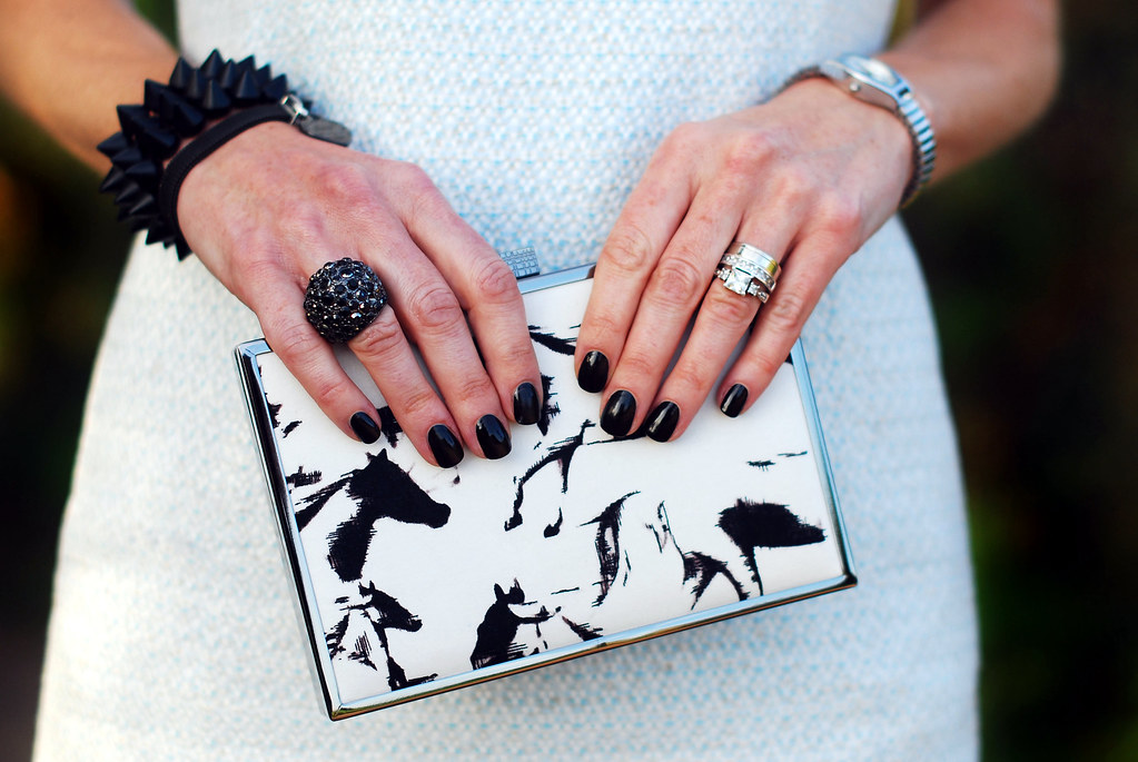 French Connection clutch bag & black manicure