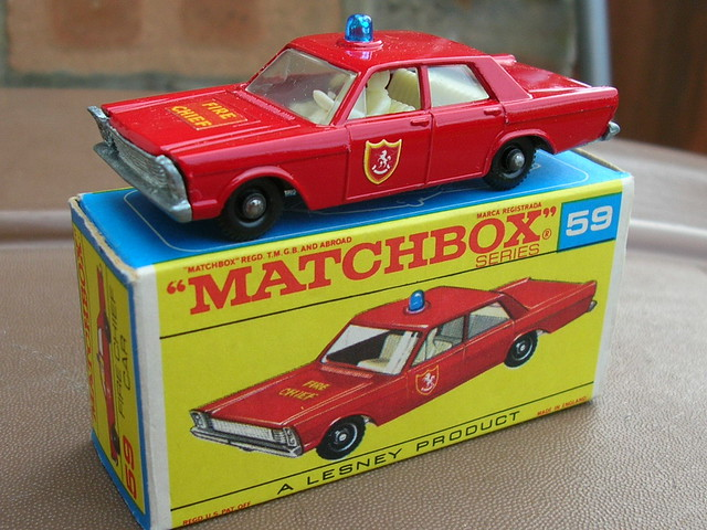 Matchbox Lesney Ford Galaxie Fire Chief Car 1960's Retro Toy