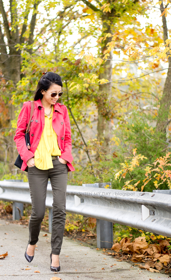 red jacket, mustard top, olive pants