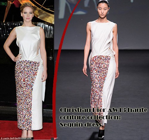 Jennifer Lawrence in Christian Dior AW13 sequin dress
