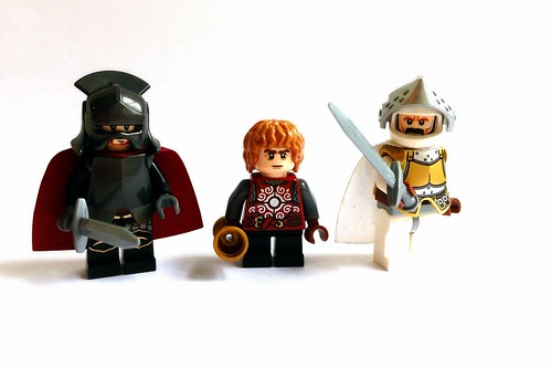 Tyrion Lannister, Lannister soldier and Ser Meryn Trant of the Kingsguard