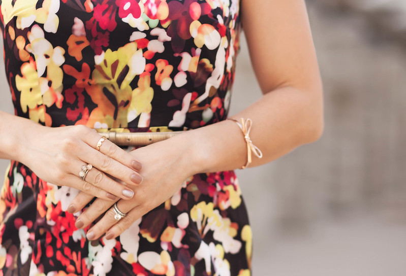 cute & little blog | party outfit | choies garden print dress, gold belt, sole society tierra cap toe heels, bow bracelet